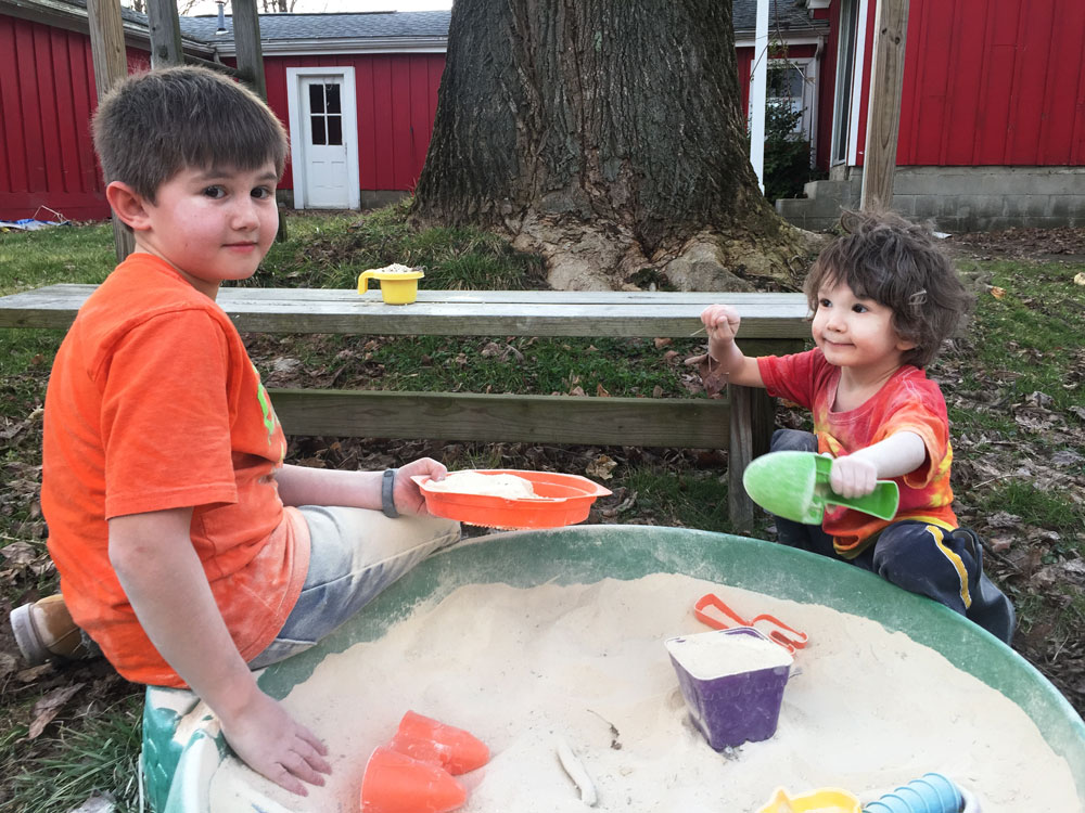 Boys in the sandbox | Little Red Farmstead