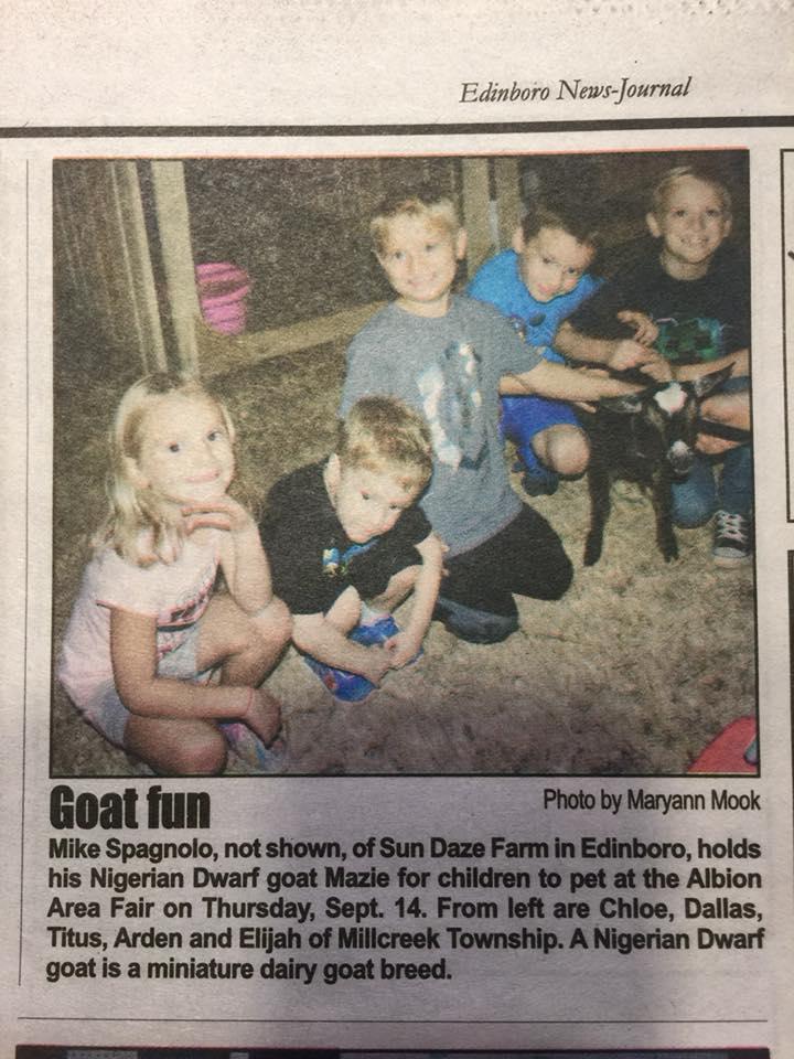 Edinboro News-Journal article, Albion Fair 2017